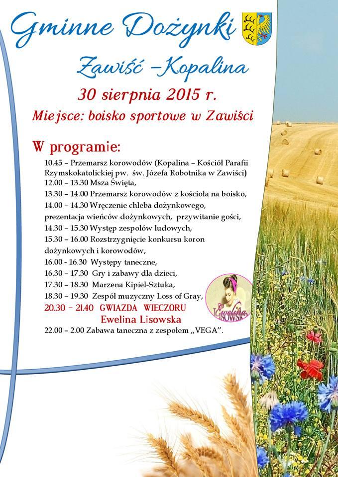 Gminne Dożynki Zawiść - Kopalina - 30.08.2015 r.