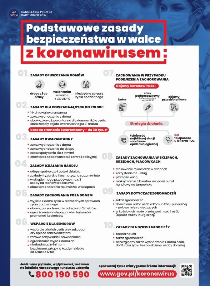 Plakat opisujący podstawowe zasady bezpieczeństwa w walce z koronawirusem udostępniony przez Kancelarię Prezesa Rady Ministrów