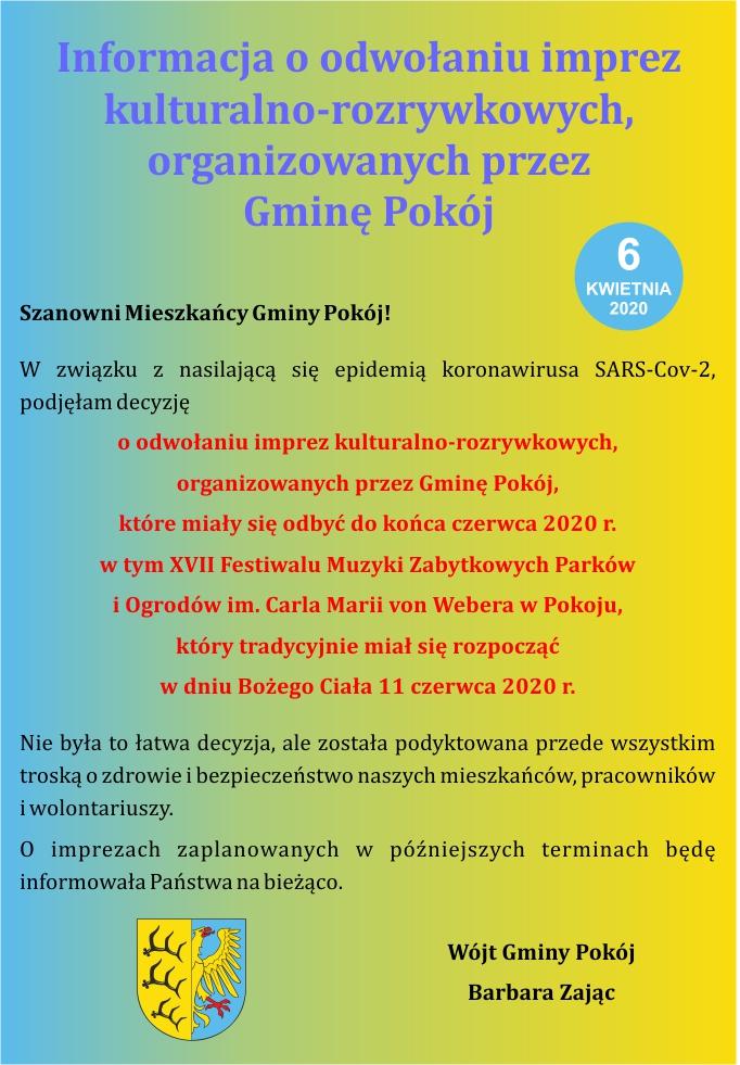 Informacja o odwołaniu imprez - gmina Pokój.jpeg