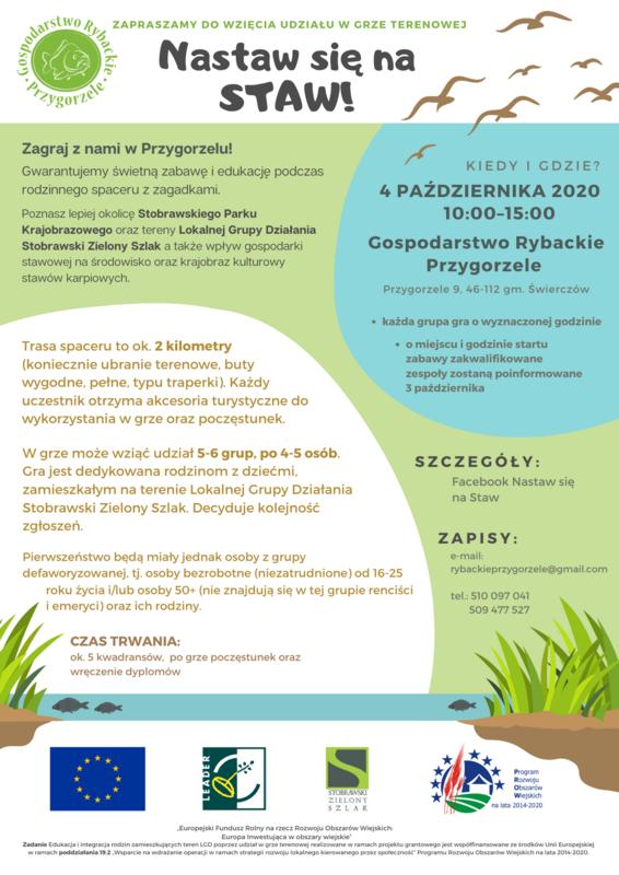 Plakat - Zaproszenie do wzięcia udziału w grze terenowej w Gospodarstwie Rybackim Przygorzele, 04.10.2020 r.
