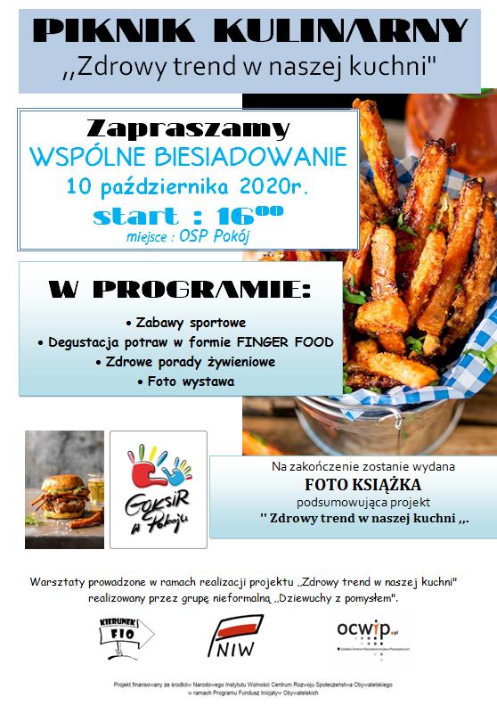 Plakat: Piknik kulinarny - Zdrowy trend w naszej kuchni, OSP Pokój, 10.10.2020 r.