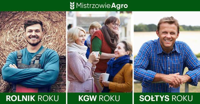 Baner z napisem: Mistrzowie Agro oraz trzema zdjęciami podpisanymi: ROLNIK ROKU, KGW ROKU, SOŁTYS ROKU.