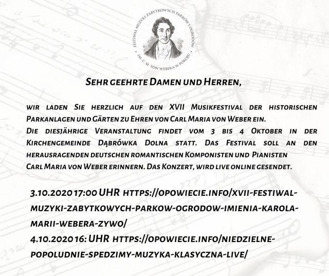 Informacja w języku niemieckim z linkiem przekierowującym do transmisji online z wydarzenia udostępnionym przez portal opowiecie.info