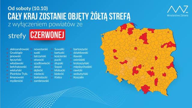 Materiały Ministerstwa Zdrowia dotyczące koronawirusa. Mapa Polski z oznaczonymi kolorami stref żółtej i czerwonej.