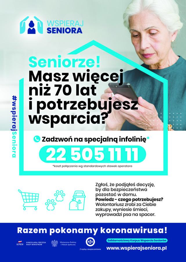 Materiał KPRM - plakat skierowany jest do seniorów, by zgłosili się do akcji w celu uzyskania wsparcia