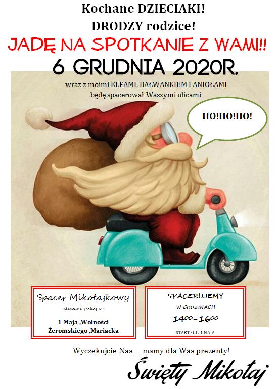 Materiał Gminnego Ośrodka Kultury, Sportu i Rekreacji w Pokoju - Spacer mikołajkowy ulicami Pokoju - 6 grudnia 2020 r.
