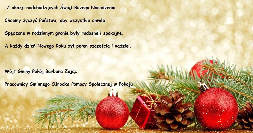Życzenia Bożonarodzeniowe Gminnego Ośrodka Pomocy Społecznej w Pokoju dla Seniorów