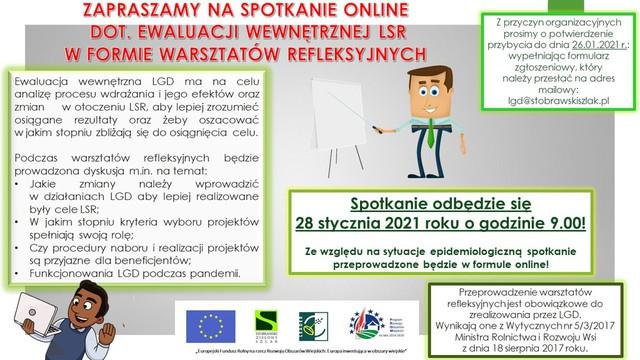Plakat: LGD Stobrawski Zielony Szlak organizuje spotkanie online dot. ewaluacji wewnętrznej LSR w formie warsztatów refleksyjnych