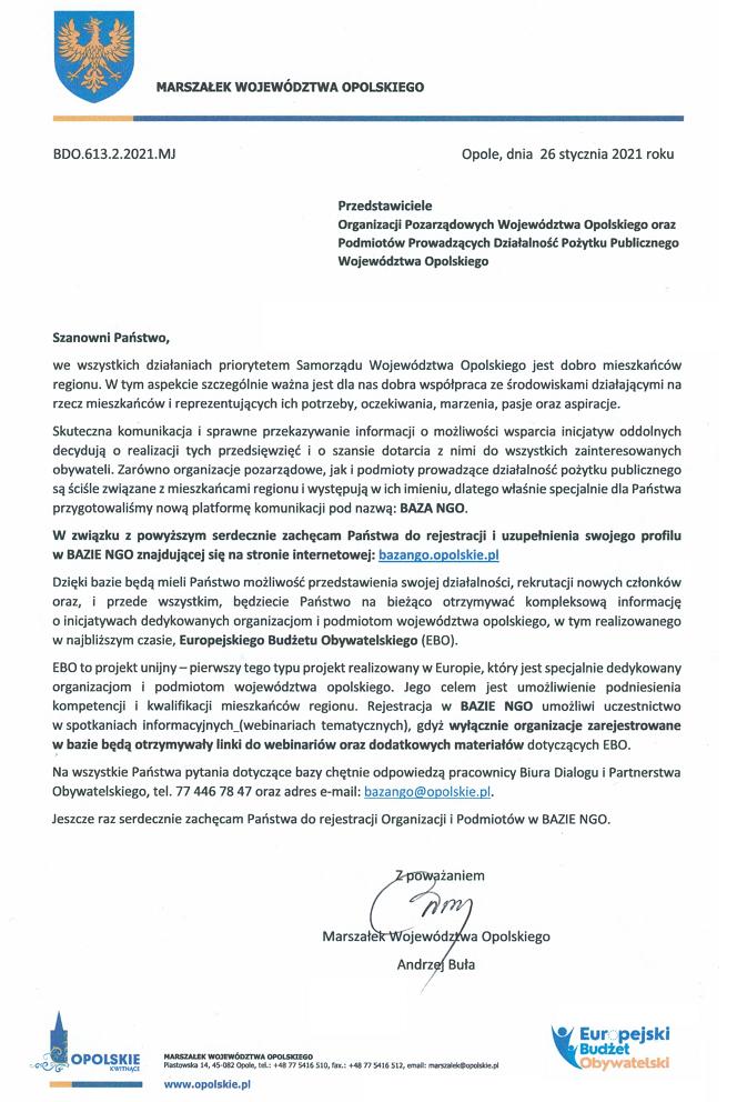 Zaproszenie Marszałka Województwa Opolskiego Andrzeja Buły do rejestracji w BOP WO