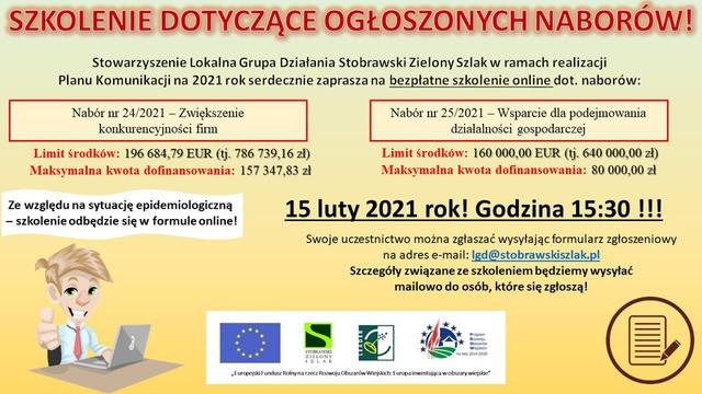 Stowarzyszenie LGD Stobrawski Zielony Szlak zaprasza na szkolenie online dot. naborów 24/2021 i 25/2021