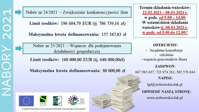 Stowarzyszenie Lokalna Grupa Działania Stobrawski Zielony Szlak w dniu 08.02.2021 r. ogłosiło następujące nabory