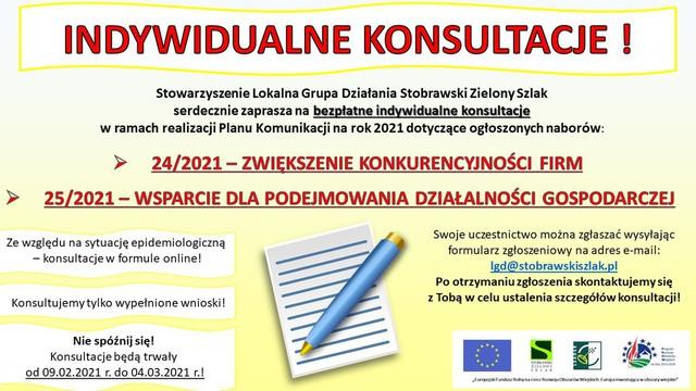 Stowarzyszenie LGD Stobrawski Zielony Szlak zaprasza na indywidualne konsultacje dot. naborów 24/2021 oraz 25/2021