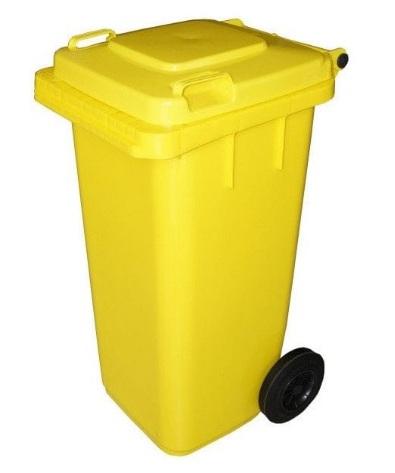 Żółty kubeł na plastik