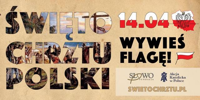Baner dotyczący 1055 rocznicy Chrztu Polski