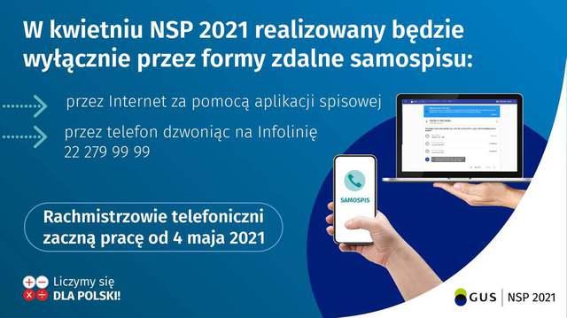 Plakat: Narodowy Spis Powszechny 2021 - rachmistrzowie telefoniczni zaczną pracę od 4 maja