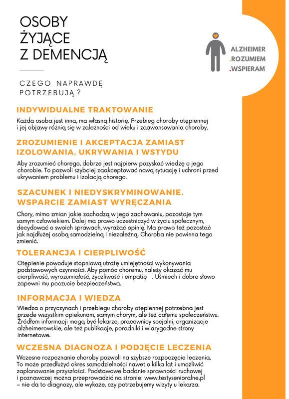 Ulotka Alzheimer - rozumiem - wspieram strona 1 z 2