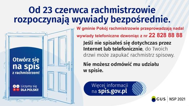 Narodowy Spis Powszechny Ludności i Mieszkań 2021 - wywiady bezpośrednie i telefoniczne w gminie Pokój