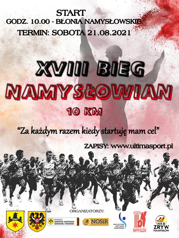 Plakat: Bieg Namysłowian organizowany w dniu 21.08.2021 r.