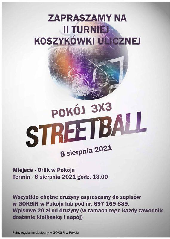 Plakat: II Turniej Koszykówki Ulicznej - Streetball - 8 sierpnia 2021 r.