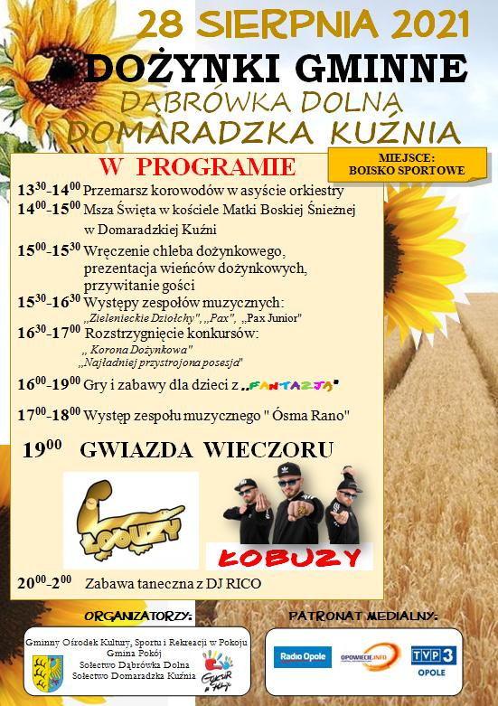 Plakat Gminnego Ośrodka Kultury, Sportu i Rekreacji w Pokoju dotyczący dożynek gminnych