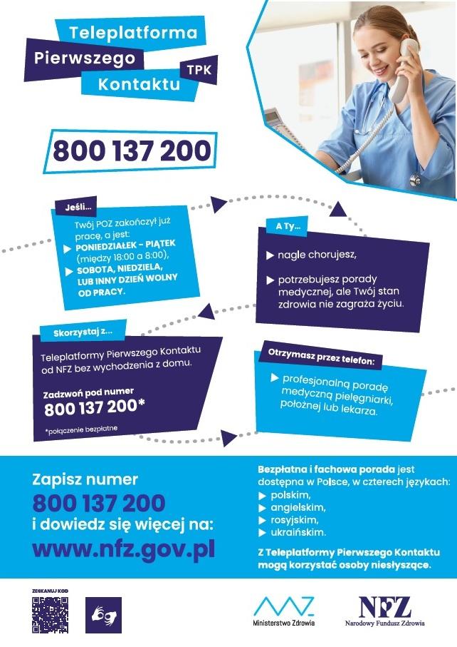 Plakat Teleplatforma Pierwszego Kontaktu (TPK)