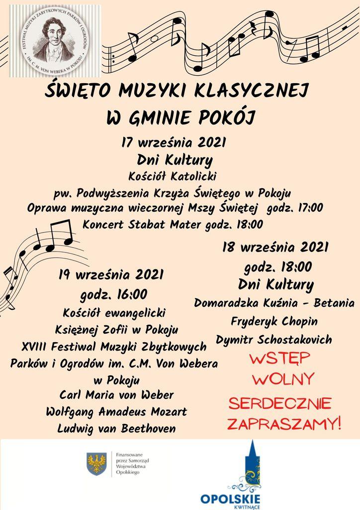 Plakat z logiem XVIII FESTIWALU MUZYKI ZABYTKOWYCH PARKÓW I OGRODÓW IM. CARLA MARII VON WEBERA W POKOJU - Święto Muzyki Klasycznej w Gminie Pokój.
