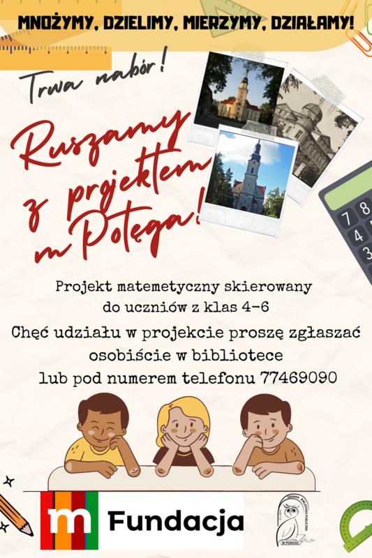 Plakat Gminnej Biblioteki Publicznej w Pokoju - Trwa nabór do projektu mPotęga