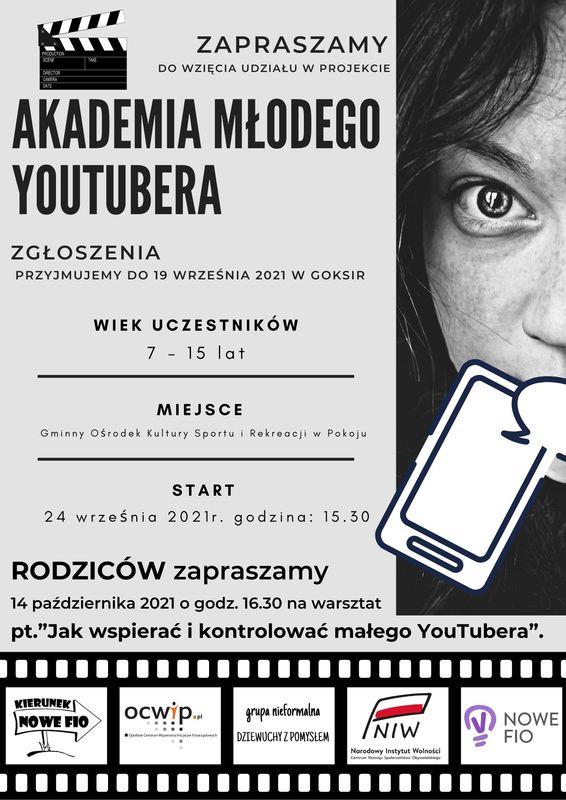 Plakat Gminnego Ośrodka Kultury, Sportu i Rekreacji w Pokoju - Akademia młodego YouTubera