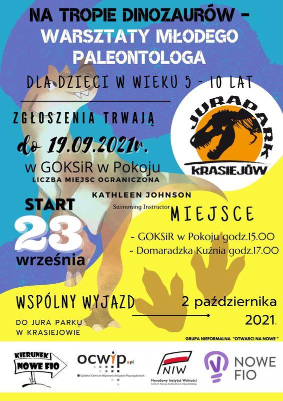 Plakat Gminnego Ośrodka Kultury, Sportu i Rekreacji w Pokoju - Warsztaty Młodego Paleontologa