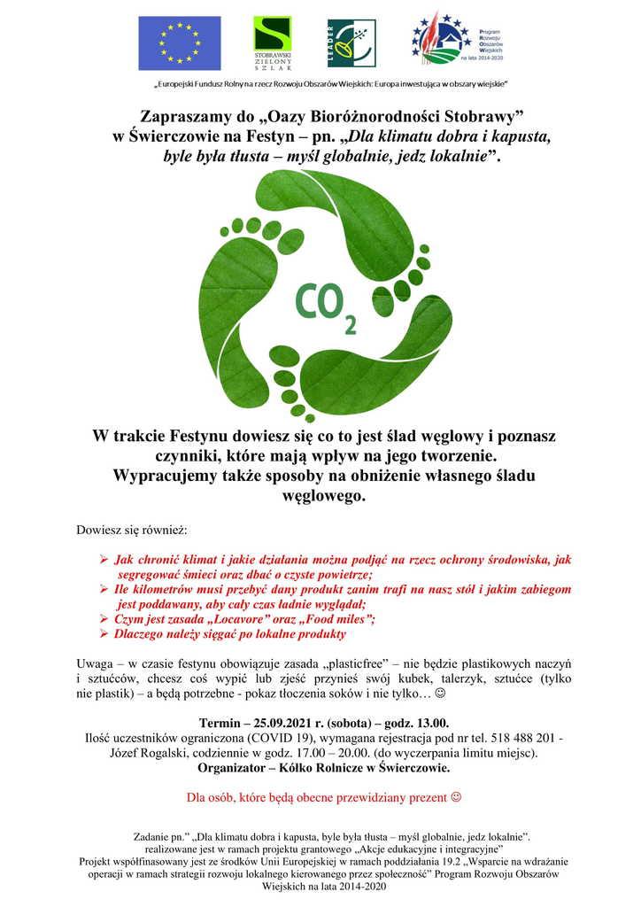 Plakat Zapraszamy do Oazy Bioróżnorodności Stobrawy w Świerczowie na Festyn pn. Dla klimatu dobra i kapusta, byle była tłusta - myśl globalnie, jedz lokalnie