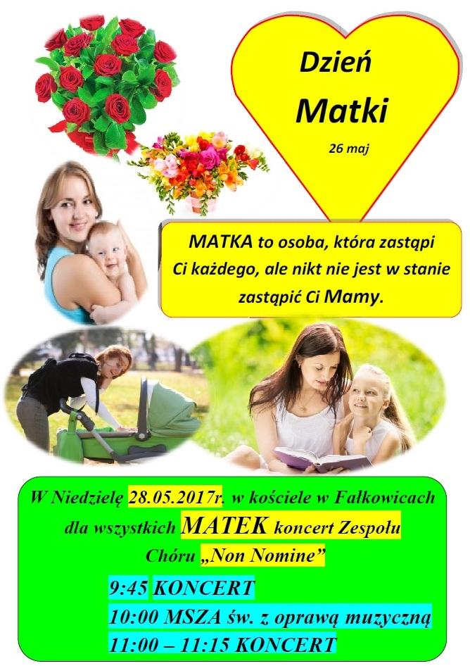 """Koncert chóru """"Non Nomine"""" w Fałkowicach z okazji Dnia Matki odbędzie się 26 maja 2017 roku"""