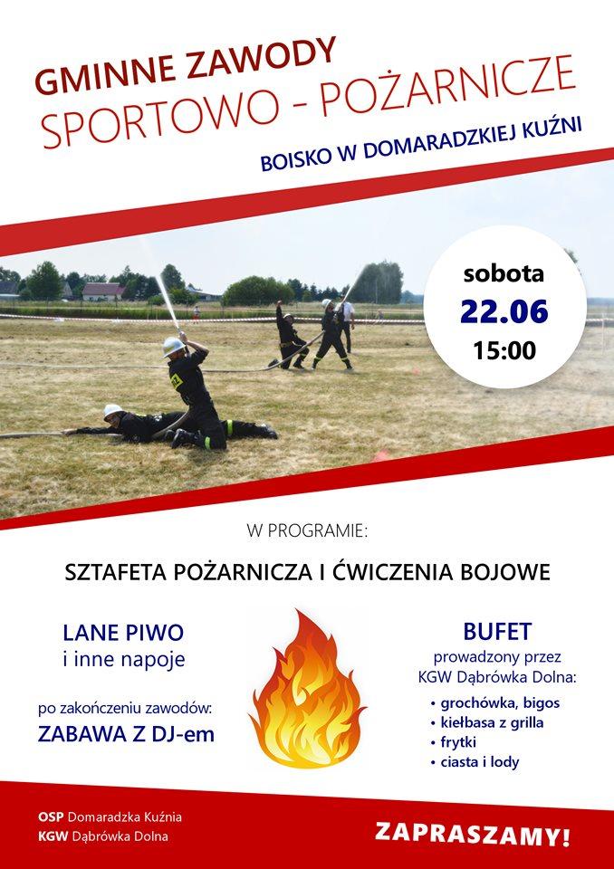 Gminne Zawody Sportowo-Pożarnicze w Domaradzkiej Kuźni - plakat 2019.jpeg