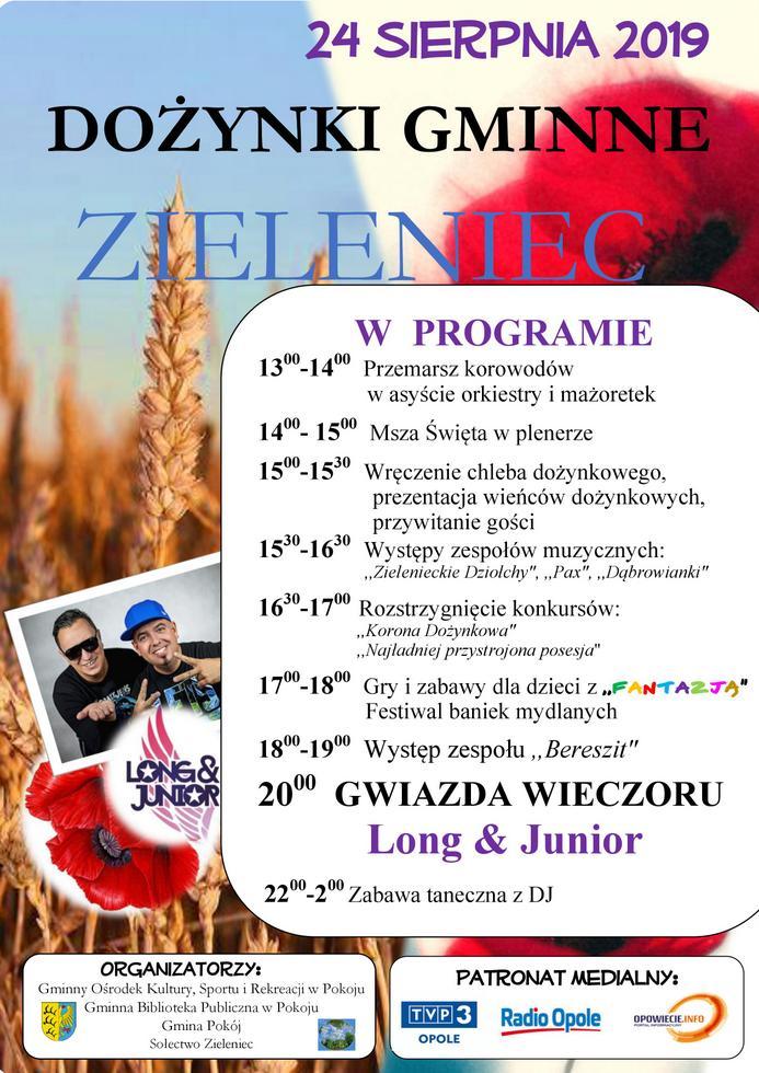 Plakat - DOŻYNKI GMINNE - Zieleniec, 24 sierpnia 2019 r..jpeg