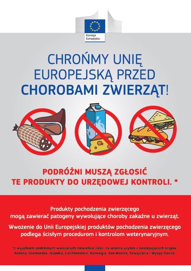 Plakat - Zakaz przywożenia produktów mięsnych lub mlecznych spoza UE.jpeg