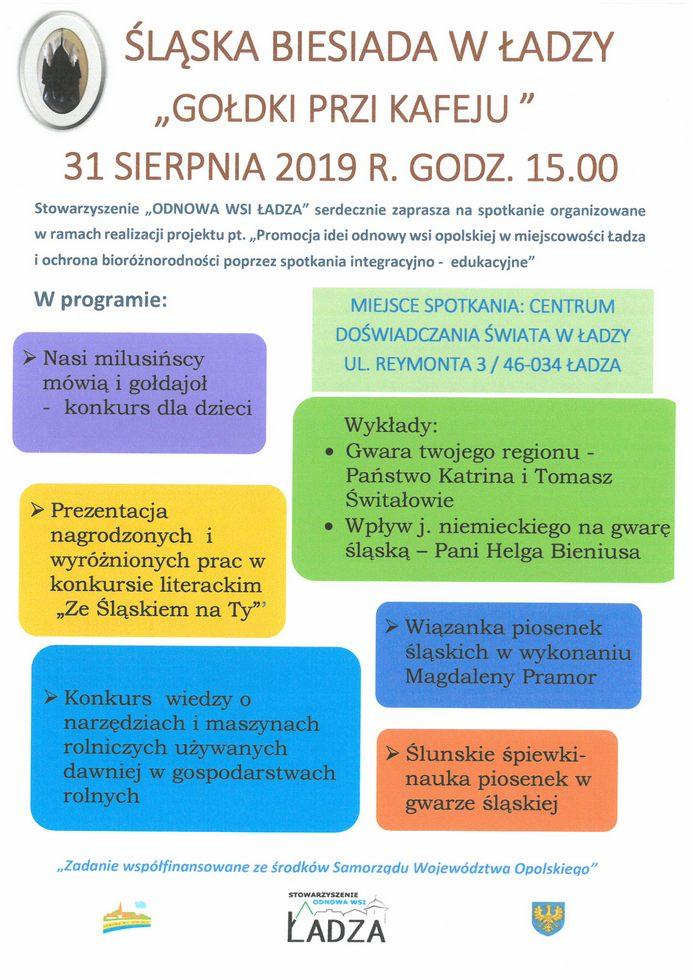 Plakat - Śląska Biesiada w Ładzy - 31 sierpnia 2019 r.