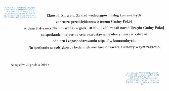 Spotkanie dotyczące oferty odbioru i zagospodarowania odpadów komunalnych dla firm z terenu gminy Pokój - 8 stycznia 2020 r..jpeg